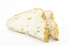 Sandwich cutting whole grain bread Royalty Free Stock Photos