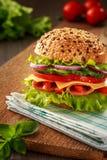 Sandwich délicieux à jambon, à fromage et à salami photographie stock