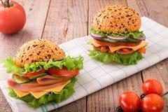 Sandwich délicieux à jambon, à fromage et à salami image libre de droits