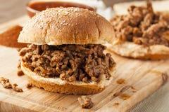 Sandwich désordonné à boeuf de barbecue image libre de droits