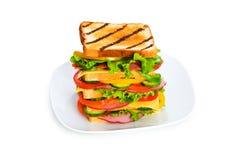 sandwich d'isolement à plaque photographie stock libre de droits