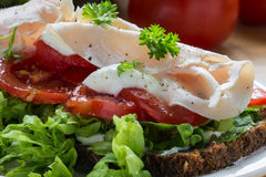 Sandwich from dark wholemeal rye bread with tomatoes, green sala Royalty Free Stock Image