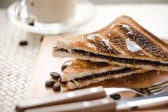 Sandwich del pane del cioccolato immagini stock