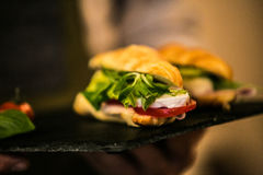 Sandwich with delicatessen cheese and fresh leaves salad Royalty Free Stock Images