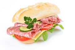 Sandwich with delicious italian salami Stock Images