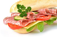 Sandwich with delicious italian salami Royalty Free Stock Images