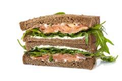 Sandwich der geräucherten Lachse Lizenzfreies Stockfoto