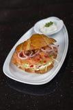 Sandwich der geräucherten Lachse Lizenzfreie Stockfotografie
