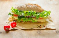 Sandwich des strengen Vegetariers mit Käse, Gemüse und Grüns Lizenzfreies Stockfoto
