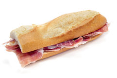 Sandwich di prosciutto spagnolo di serrano Immagini Stock