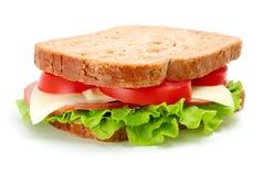 Sandwich die op wit wordt geïsoleerdn royalty-vrije stock afbeeldingen