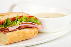Sandwich dinner with soup Royalty Free Stock Photos