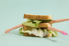 Sandwich doll. Parts of a doll`s body in a sandwich with salad and soft bread on a minimal background color Stock Image