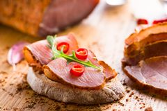 Sandwich with dried pork meat Stock Images
