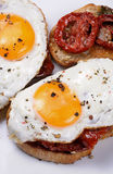 Sandwich with dried tomatoes and egg. Sandwich with slices of dried tomatoes and egg flavored spices royalty free stock photography