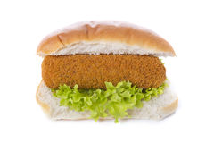 Sandwich with Dutch meat croquette ('kroket'). Sandwich with Dutch meat croquette ('broodje kroket'), isolated on white royalty free stock image