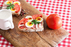 Sandwich with egg, ham and tomato Stock Images