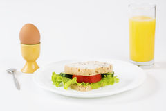 Sandwich between egg and juice satisfy stomach. Sandwich between egg and juice satisfy hungry stomach Royalty Free Stock Images