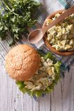 Sandwich with egg salad closeup on table. vertical top view Stock Images