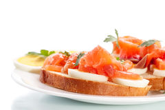 Sandwich with egg and salmon Royalty Free Stock Photography