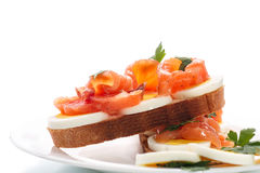 Sandwich with egg and salmon Stock Photo
