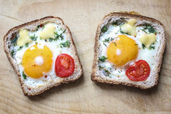 Sandwich with egg and tomato. Sandwich with egg, cheese and tomato royalty free stock photography