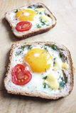 Sandwich with egg and tomato. Sandwich with egg, cheese and tomato stock image