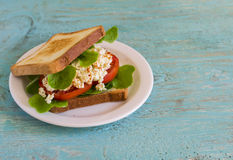 Sandwich with egg, tomato and lettuce on a white plate Royalty Free Stock Photo