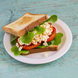 Sandwich with egg, tomato and lettuce on a white plate Stock Images