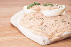 Sandwich with egg and tuna sauce Royalty Free Stock Image