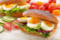 Sandwich with egg and vegetables on wooden background Royalty Free Stock Images