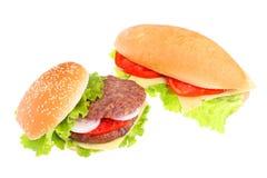 Sandwich en hamburger Royalty-vrije Stock Afbeeldingen