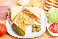 Sandwich en Ingrediënten Stock Afbeeldingen