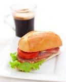 Sandwich en koffie Royalty-vrije Stock Foto's