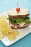 Sandwich en spaanders stock foto
