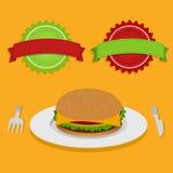 Sandwich en twee etiketten Royalty-vrije Stock Afbeelding
