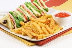 Sandwich et fritures à club Photographie stock libre de droits