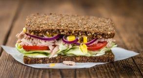 Sandwich fait frais à thon avec le pain complet (foyer sélectif) image libre de droits