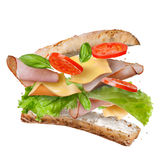 Sandwich with falling ingredients in the air Royalty Free Stock Photos