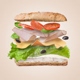 Sandwich with falling ingredients in the air royalty free stock photography