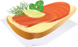 Sandwich with fish. Appetizing sandwich with fish and a lemon, on a napkin. vector. illustration Royalty Free Stock Photos