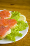Sandwich with fish. Sandwich with smoked fish, lemon slice and lettuce royalty free stock image
