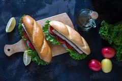 Sandwich with fish. Balik ekmek - turkish fast food Royalty Free Stock Images