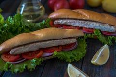 Sandwich with fish. Balik ekmek - turkish fast food Royalty Free Stock Photo