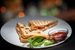 Sandwich with fish on a white plate with sauce and greens stock images
