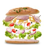 Sandwich with flying ingredients. Freeze motion. Close-up. White background. royalty free stock images