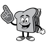 Sandwich with Foam Finger Illustration Royalty Free Stock Image
