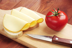 Sandwich with folded slices of cheese Royalty Free Stock Photo