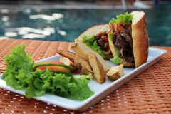 Sandwich food at swimming pool outdoor Stock Photos