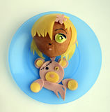 Sandwich in the form of the girl with a bear. Stock Image